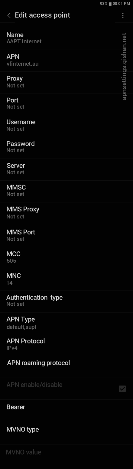 AAPT 1 APN settings for Android 11 screenshot