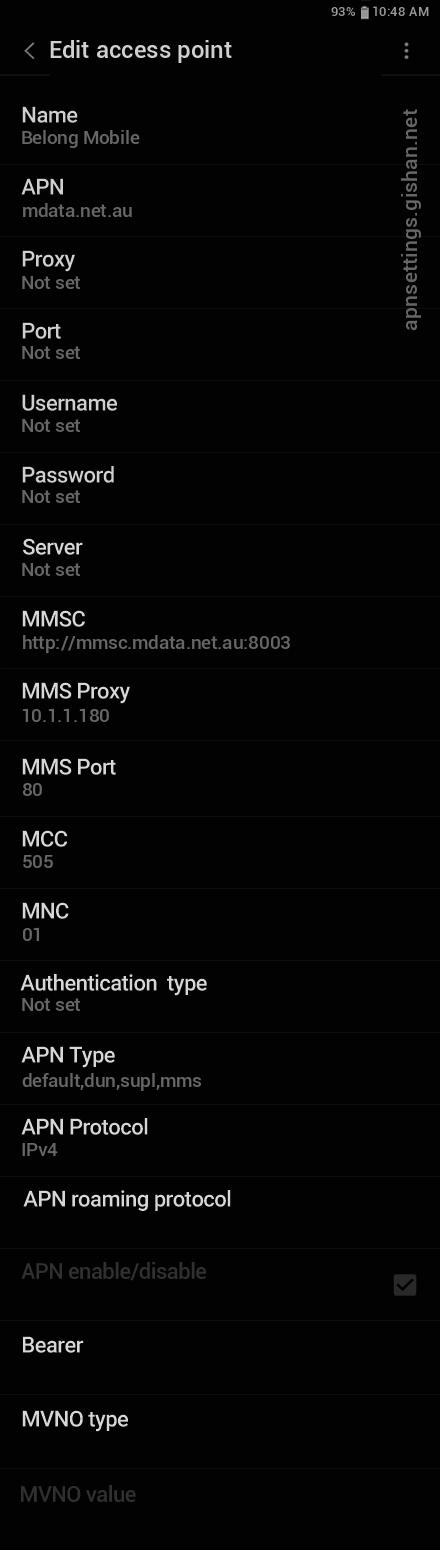 Belong Mobile 2 APN settings for Android 11 screenshot