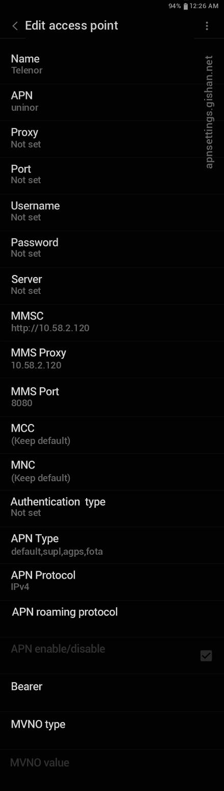 Telenor 2 APN settings for Android 11 screenshot