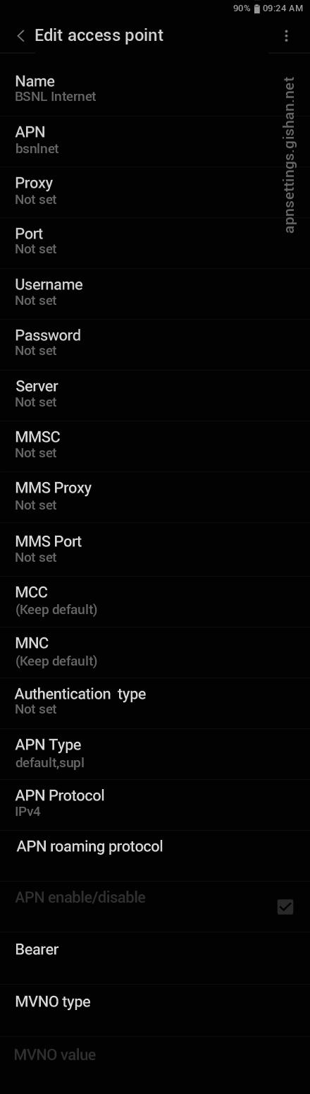 BSNL 1 APN settings for Android 11 screenshot