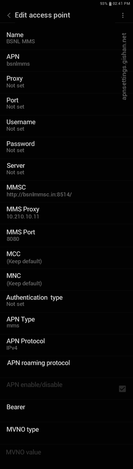 BSNL 3 APN settings for Android 11 screenshot
