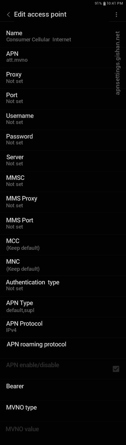 Consumer Cellular  1 APN settings for Android 11 screenshot