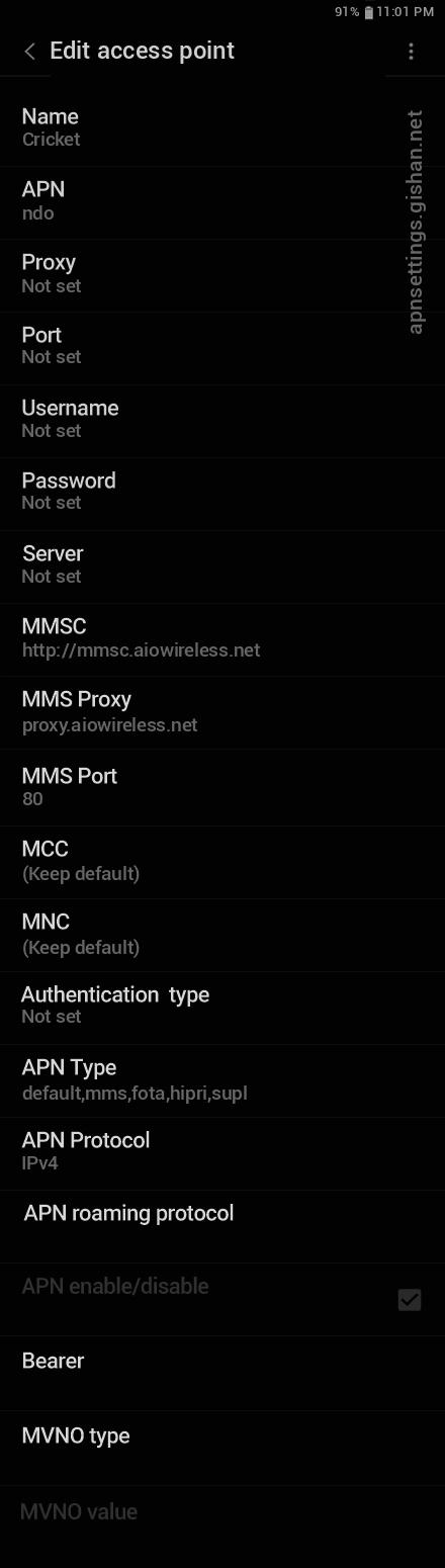Cricket 2 APN settings for Android 11 screenshot