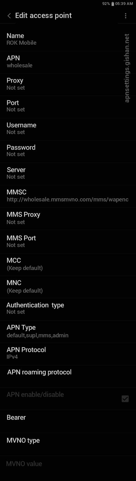 ROK Mobile 2 APN settings for Android 11 screenshot