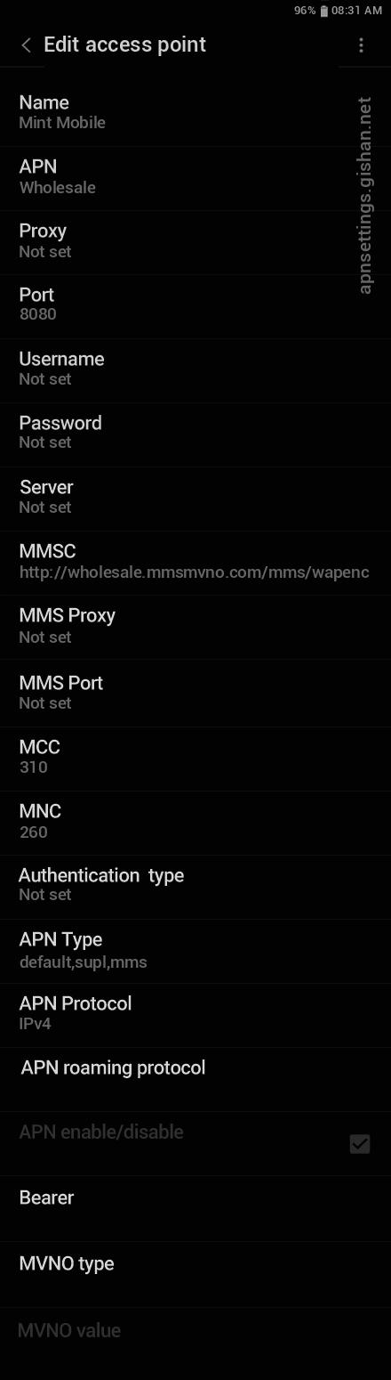 Mint Mobile 2 APN settings for Android 11 screenshot