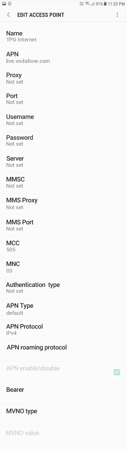 TPG 1 APN settings for Android 9 screenshot