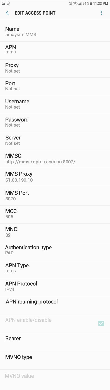 amaysim 3 APN settings for Android 8 screenshot
