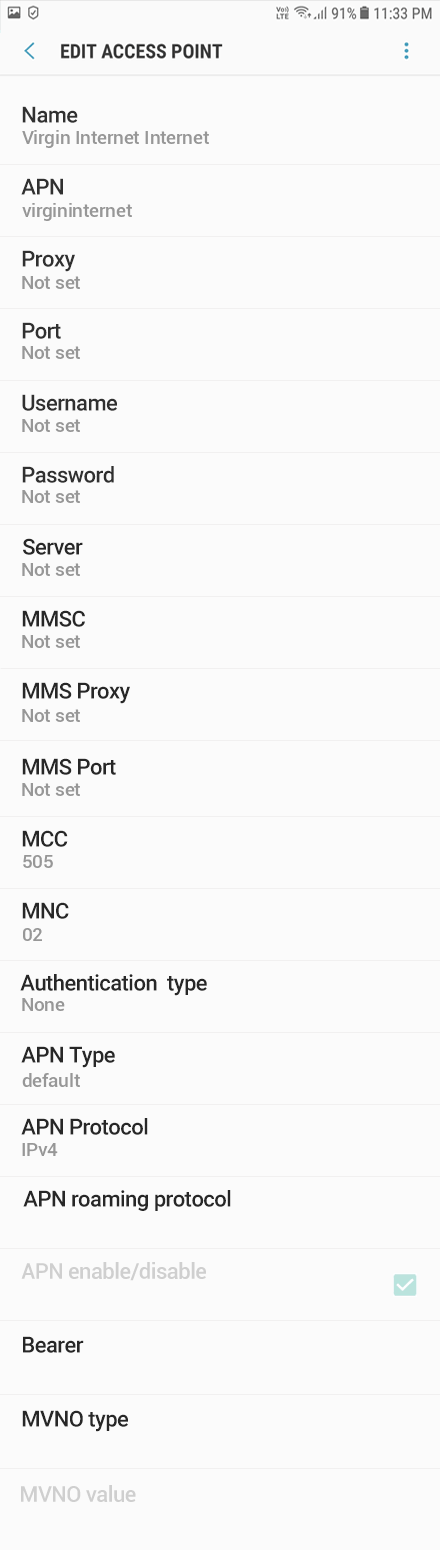 Virgin 1 APN settings for Android 8 screenshot
