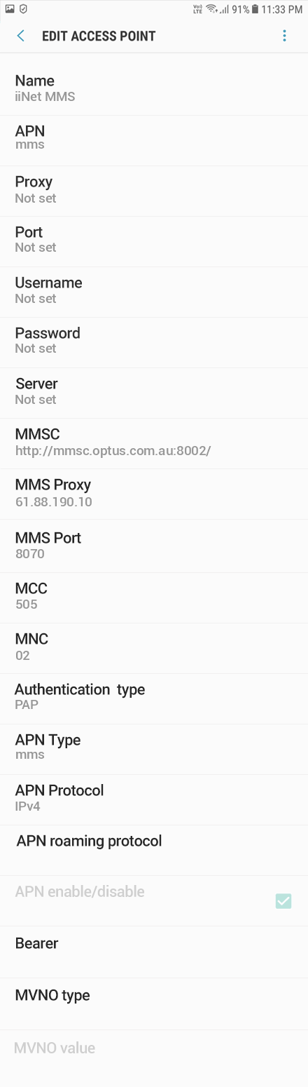 iiNet 3 APN settings for Android 8 screenshot