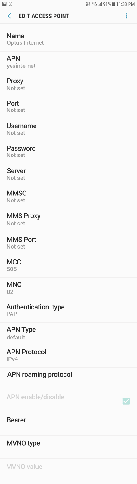 Optus 1 APN settings for Android 8 screenshot