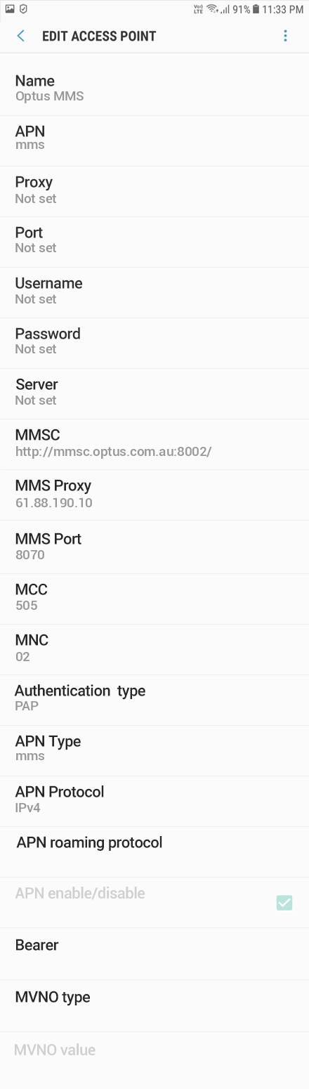 Optus 3 APN settings for Android 9 screenshot