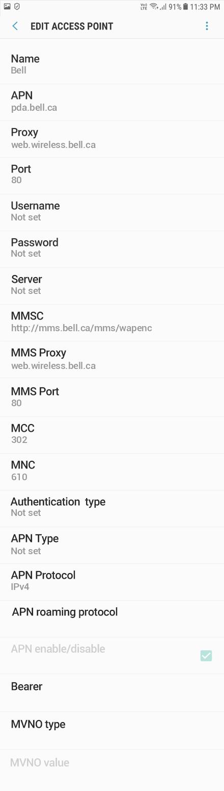 Bell 2 APN settings for Android 10 screenshot