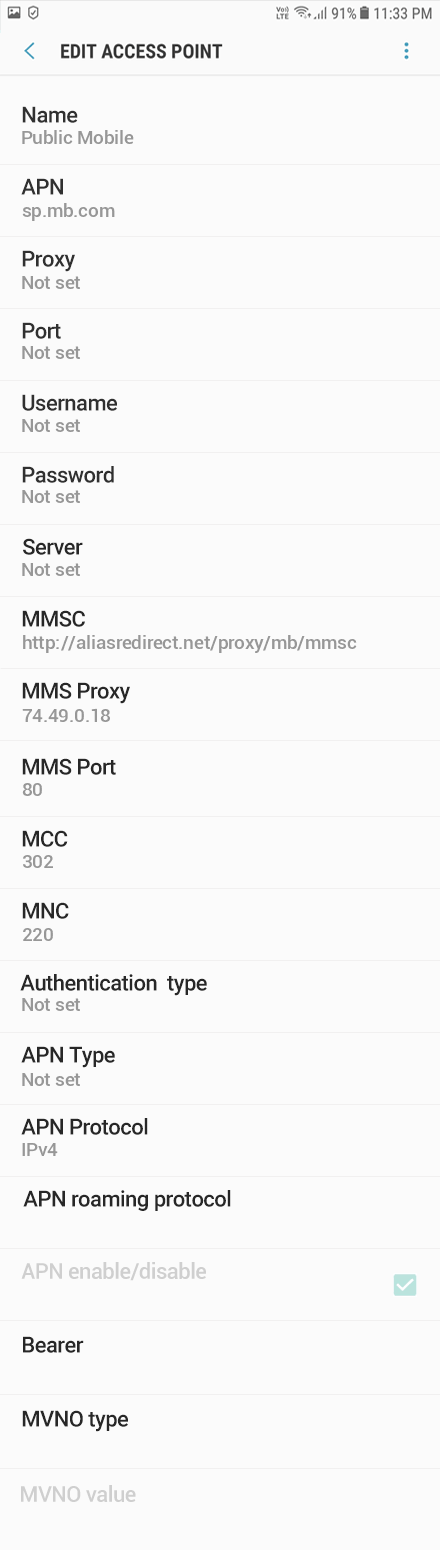 Public Mobile 2 APN settings for Android 8 screenshot