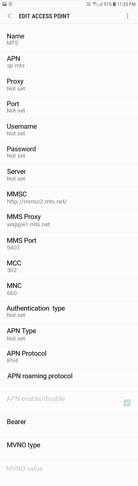 MTS 2 APN settings for Android 10 screenshot