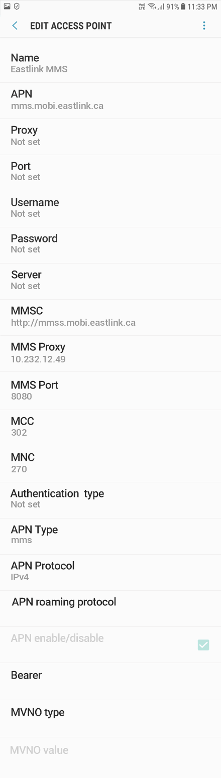 Eastlink 3 APN settings for Android 8 screenshot
