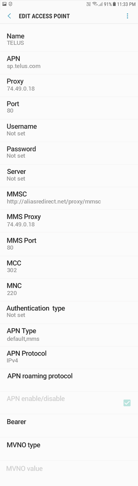 TELUS 2 APN settings for Android 9 screenshot