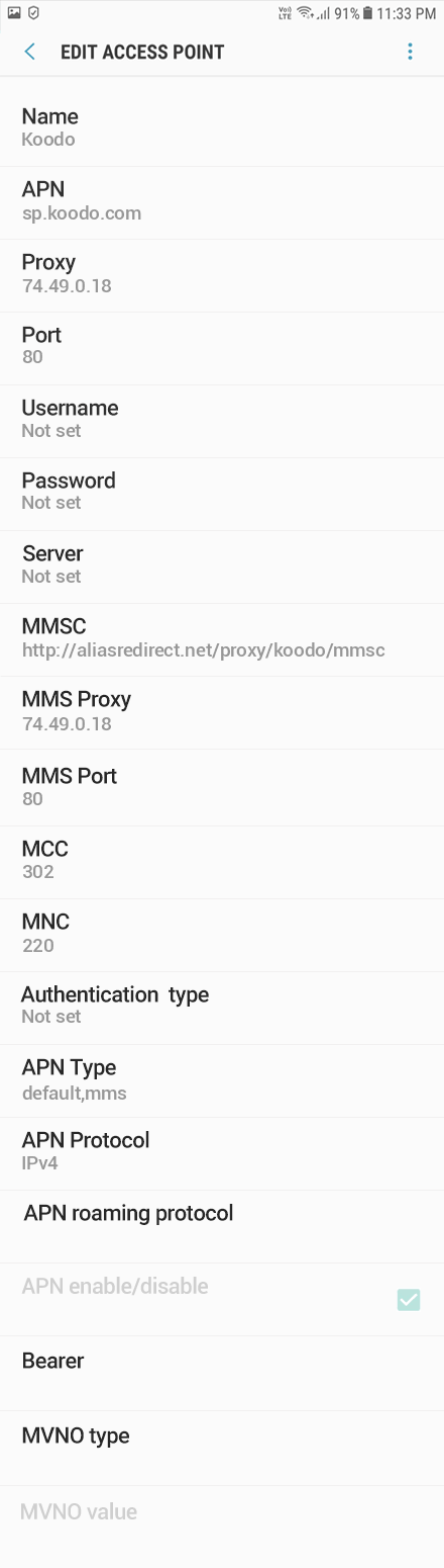 Koodo 2 APN settings for Android 9 screenshot