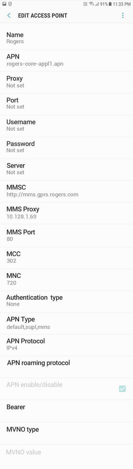 Rogers 2 APN settings for Android 10 screenshot