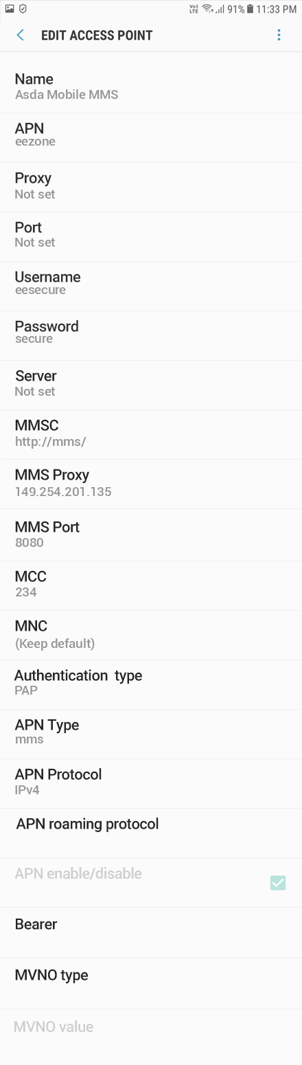 Asda Mobile 3 APN settings for Android 8 screenshot