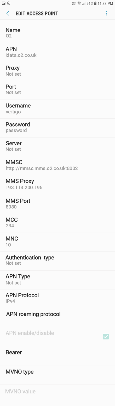 O2 2 APN settings for Android 10 screenshot