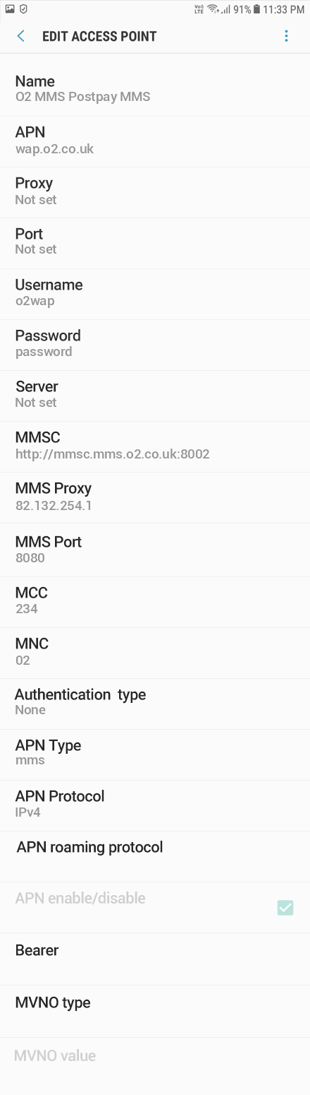 O2 3 APN settings for Android 9 screenshot