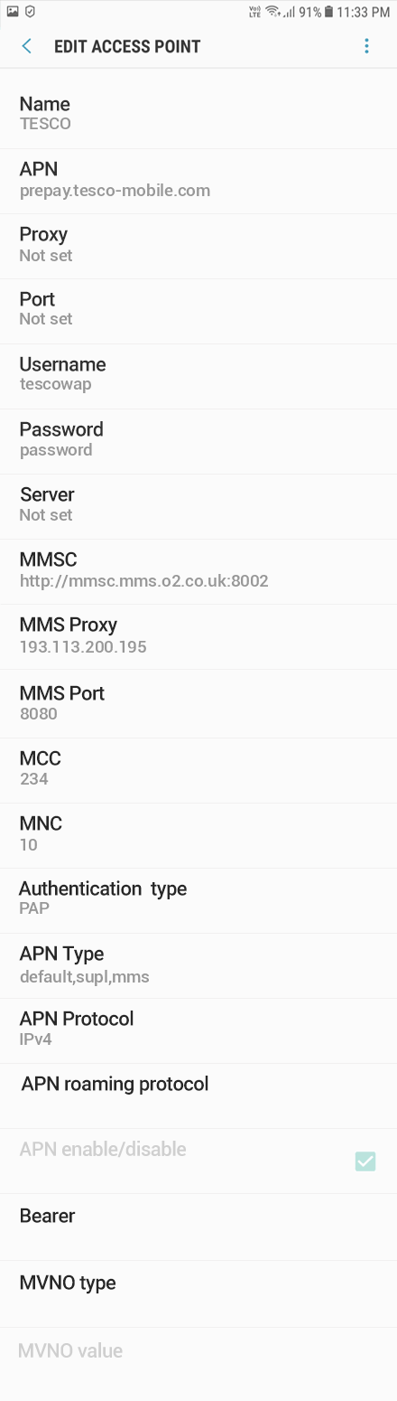 Tesco Mobile 2 APN settings for Android 8 screenshot