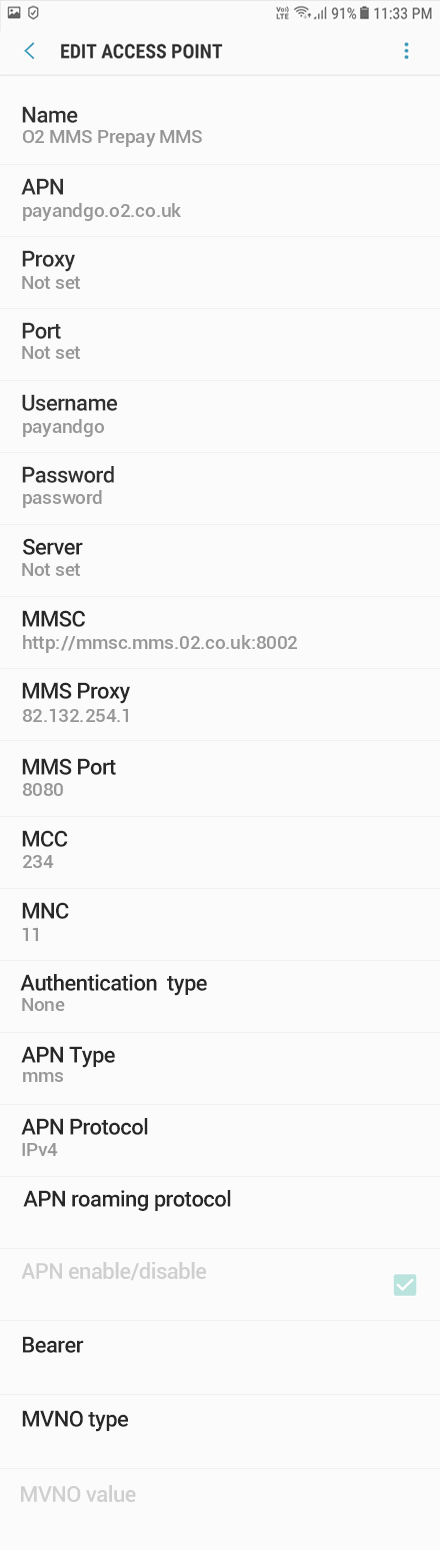 O2 3 APN settings for Android 10 screenshot