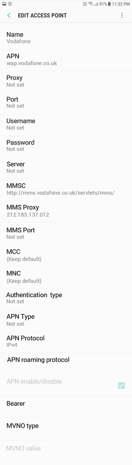 Vodafone 2 APN settings for Android 8 screenshot
