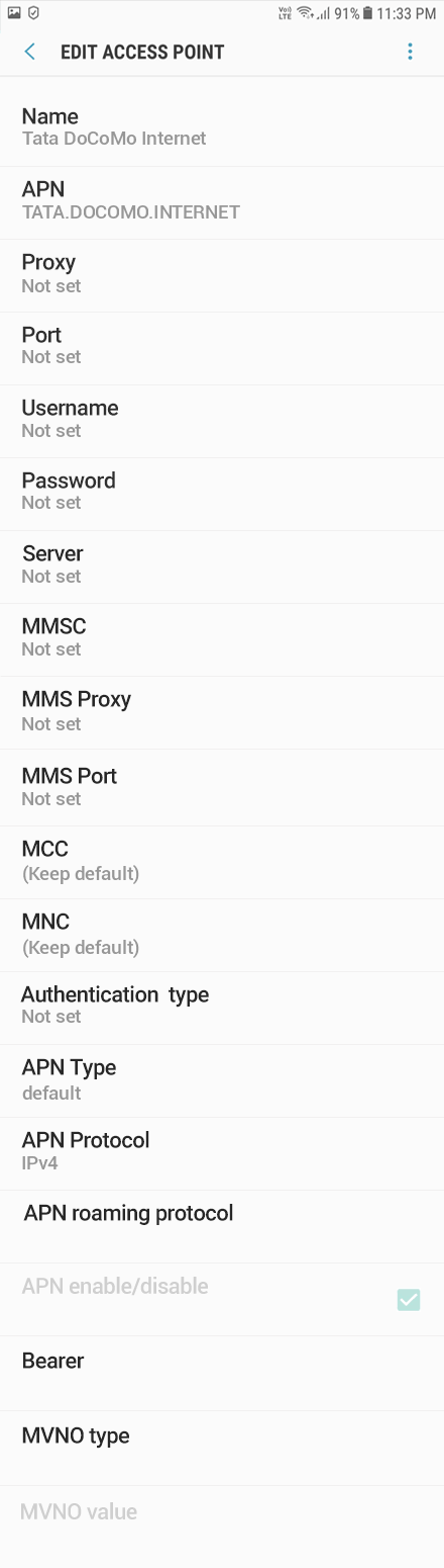 Tata DoCoMo 1 APN settings for Android 10 screenshot