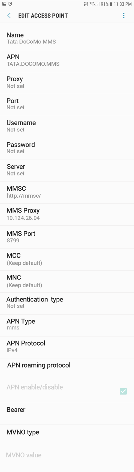 Tata DoCoMo 3 APN settings for Android 8 screenshot