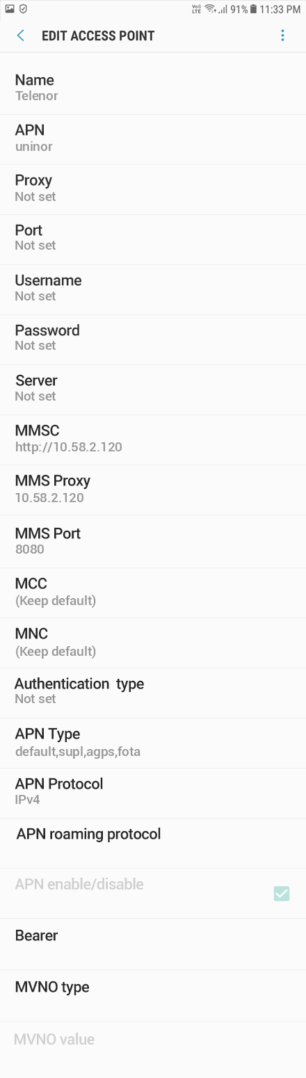 Telenor 2 APN settings for Android 8 screenshot