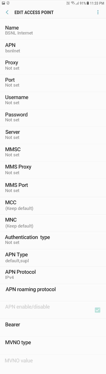 BSNL 1 APN settings for Android 8 screenshot