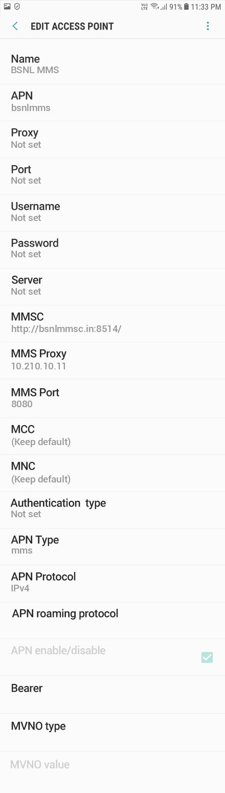 BSNL 3 APN settings for Android 8 screenshot