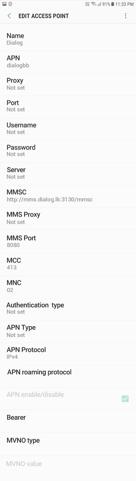 Dialog 2 APN settings for Android 9 screenshot