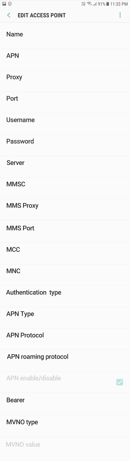 Etisalat 1 APN settings for Android 9 screenshot