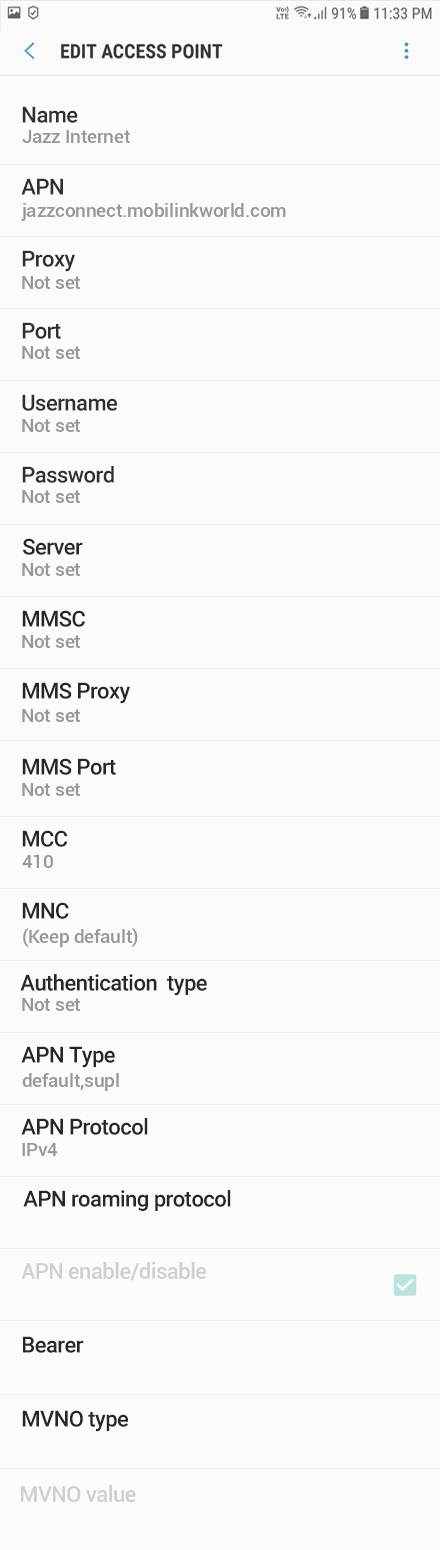 Jazz 1 APN settings for Android 9 screenshot