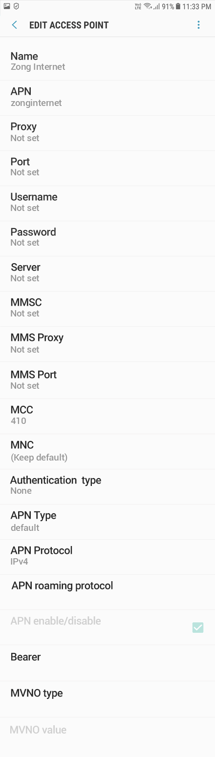 Zong 1 APN settings for Android 9 screenshot