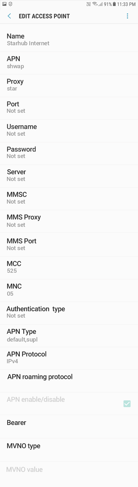 Starhub 1 APN settings for Android 9 screenshot