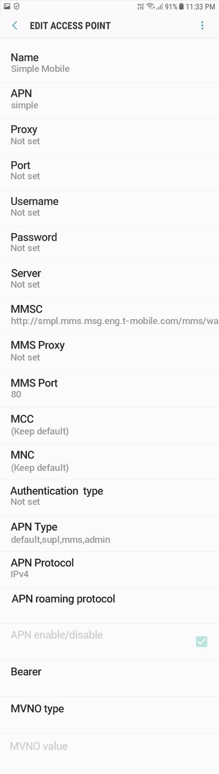 Simple Mobile 2 APN settings for Android 9 screenshot