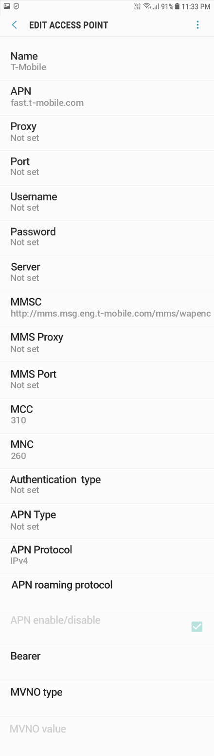 T-Mobile 2 APN settings for Android 8 screenshot