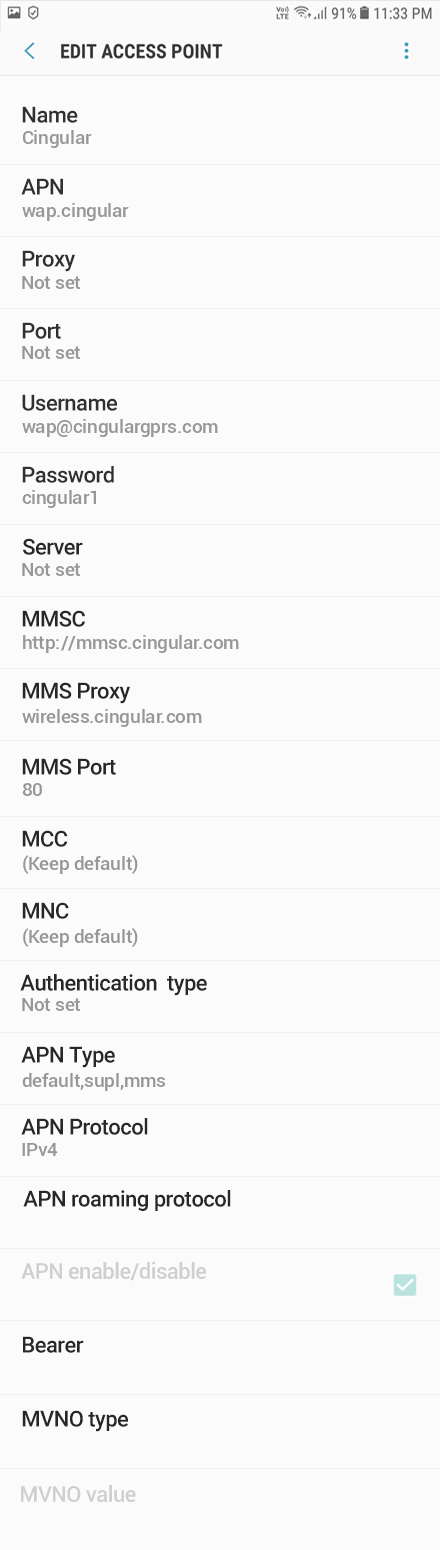 Cingular  2 APN settings for Android 8 screenshot