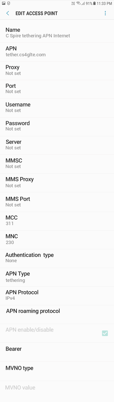C Spire 1 APN settings for Android 9 screenshot