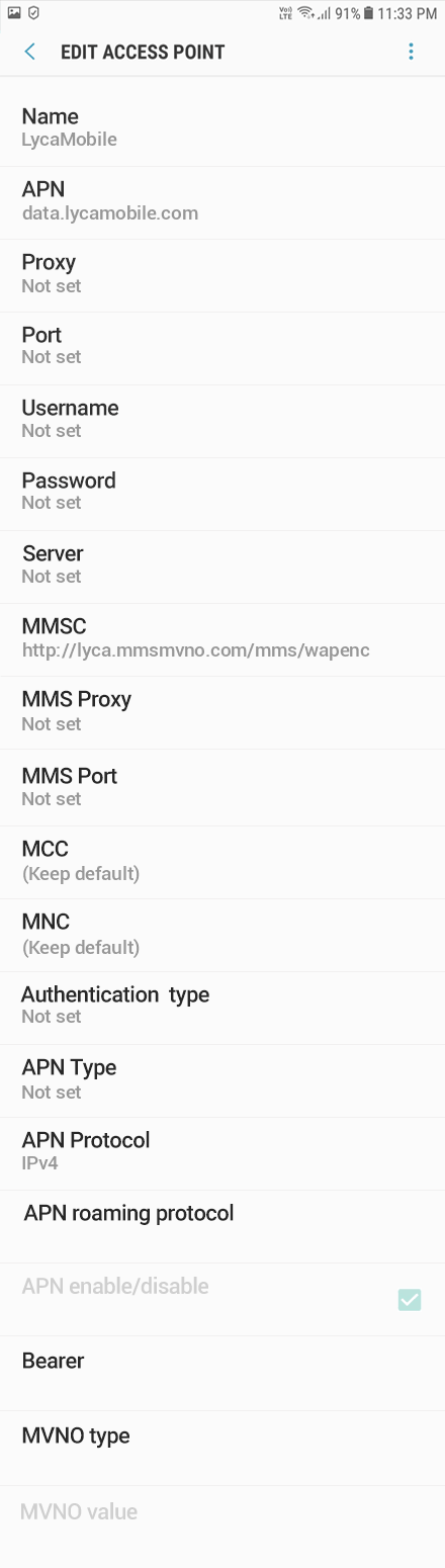 LycaMobile 2 APN settings for Android 9 screenshot