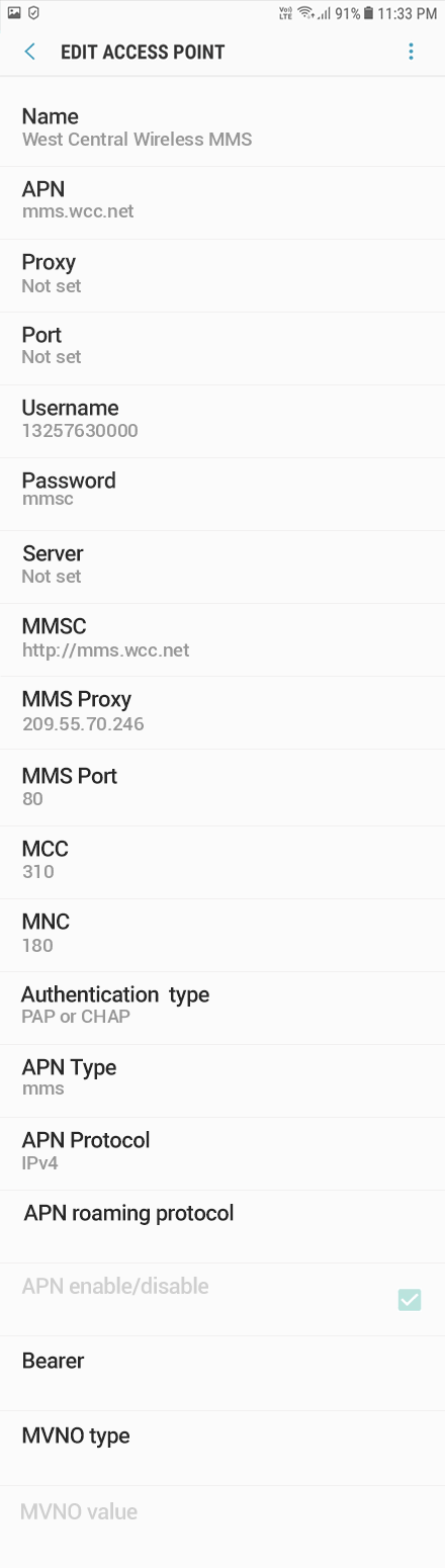 West Central Wireless 3 APN settings for Android 8 screenshot