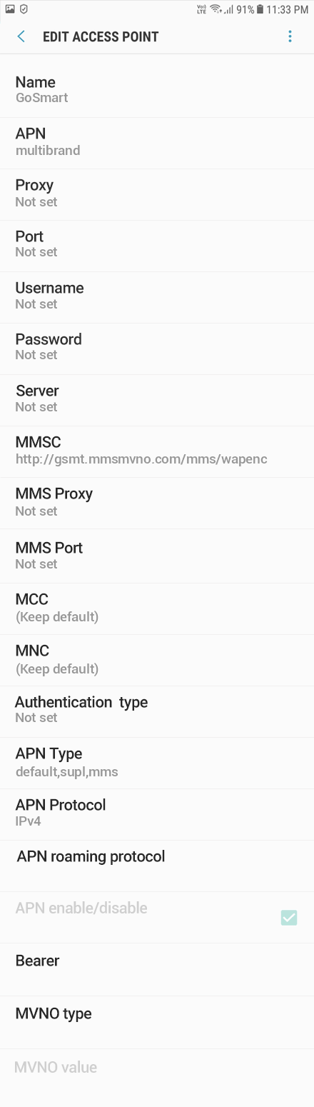 GoSmart 2 APN settings for Android 8 screenshot