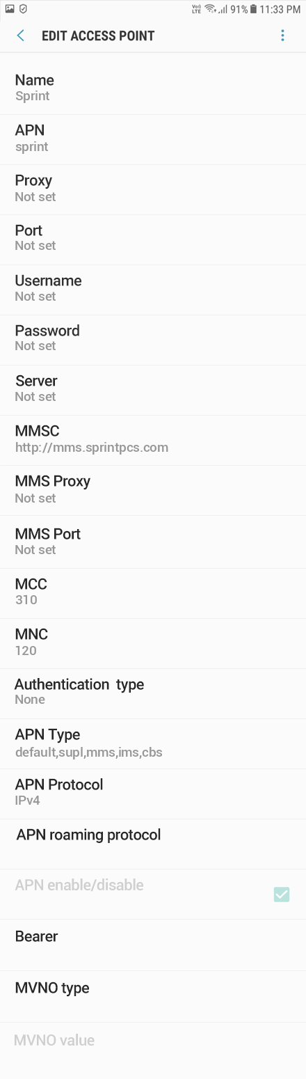 Sprint 2 APN settings for Android 8 screenshot