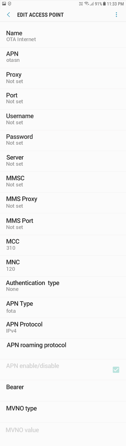 Total Wireless 1 APN settings for Android 9 screenshot