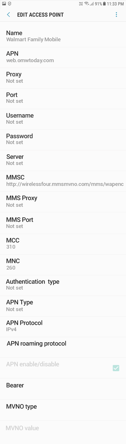 Walmart Family Mobile 2 APN settings for Android 9 screenshot