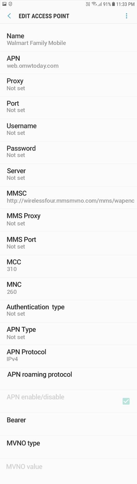 Walmart Family Mobile APN settings for HTC U11 Life - APN