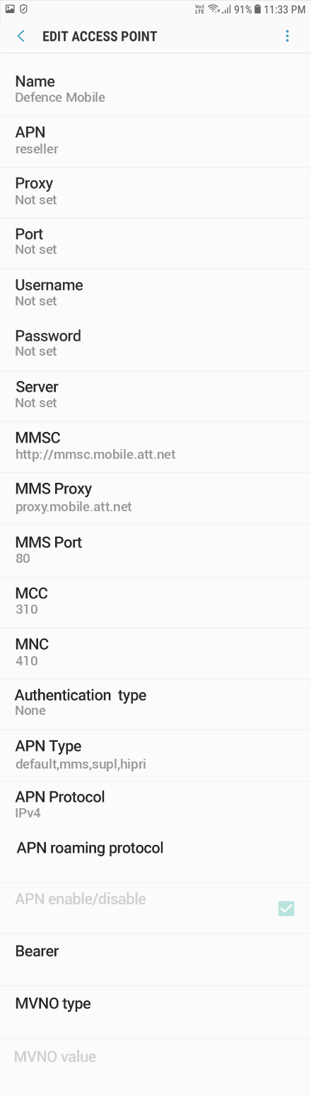 Defence Mobile 2 APN settings for Android 9 screenshot